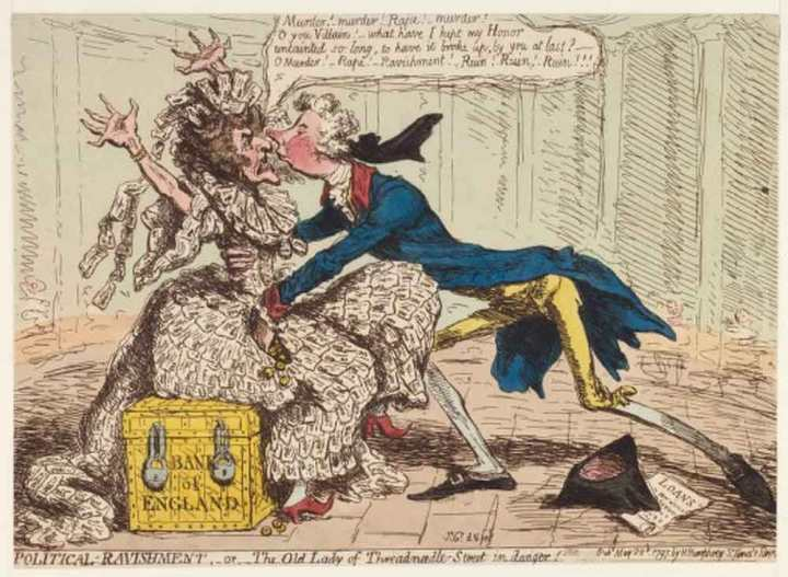 Satirical cartoon illustrating the London saying The Old Lady of Threadneedle Street