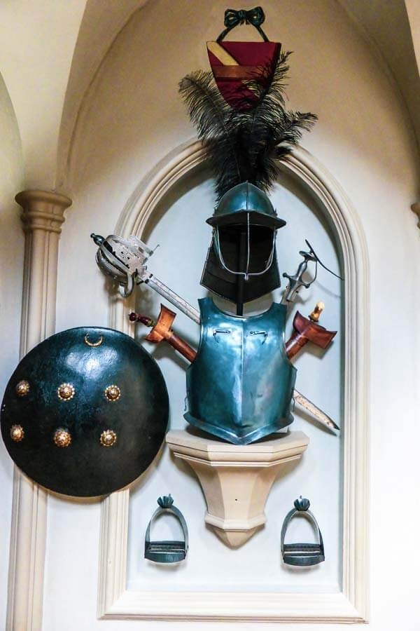 armour suit hanging on the wall in the staircase of Strawberry Hill House