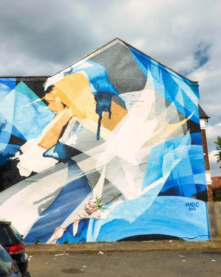 Mad C street art mural in Dulwich, London, based on the painting 'Venetia, Lady Digby, on her Deathbed' by Sir Anthony van Dyck