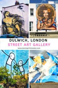 Pinterest image to pin this article about the street art in Dulwich, London