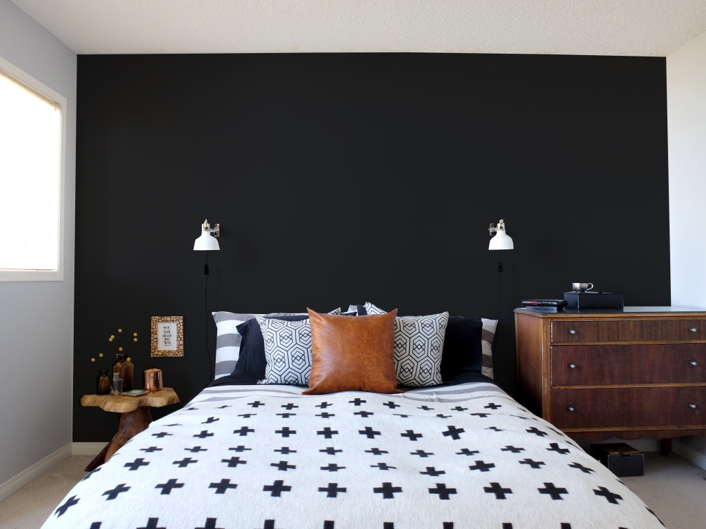 Dutchie Love Master Bedroom black walls mockup