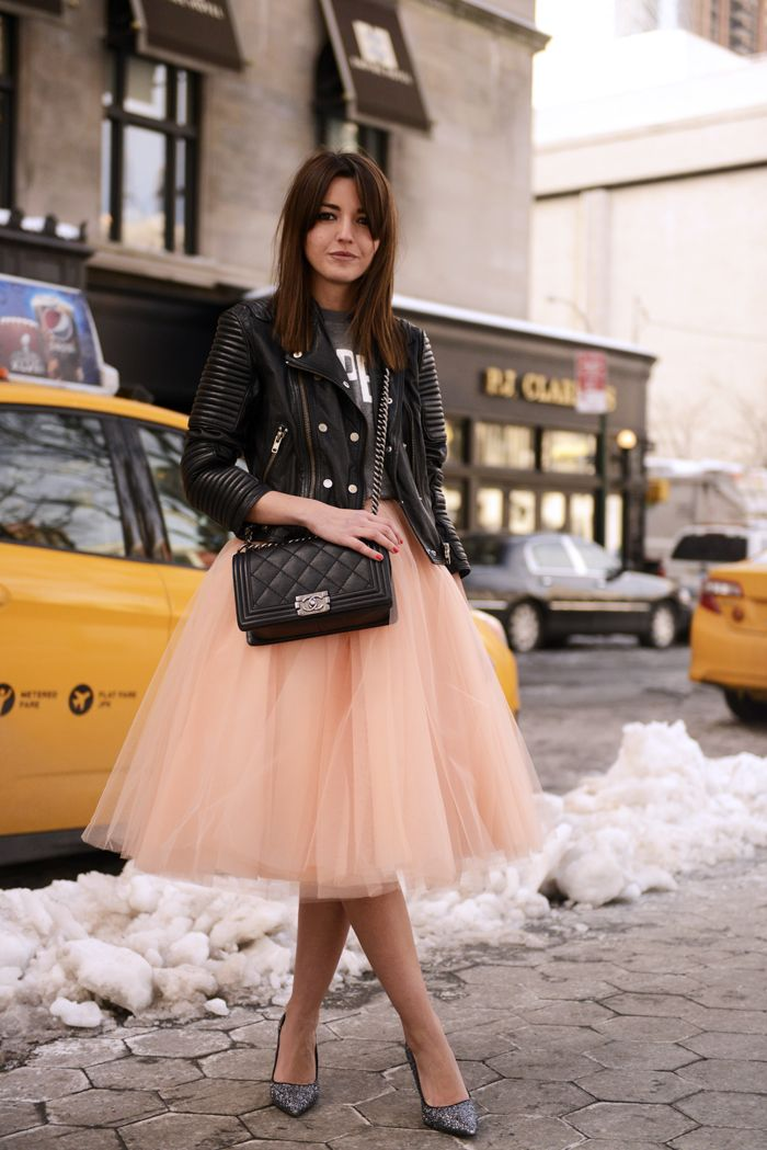 Tulle Midi Skirt with Leather Inspiration | Dutchie Love