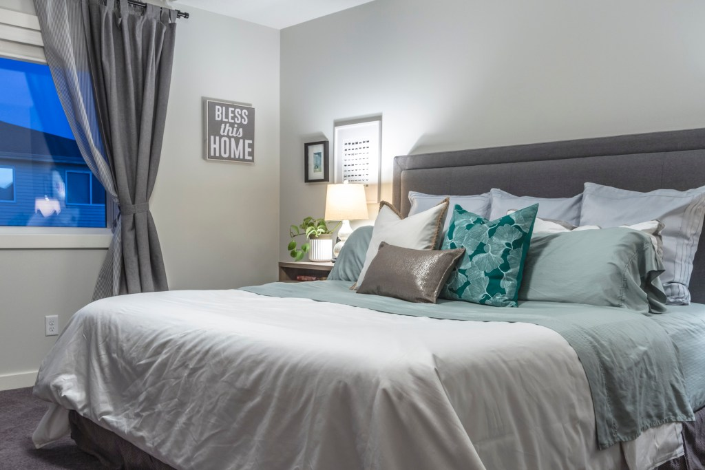 Beach Inspired Master Bedroom Bedding