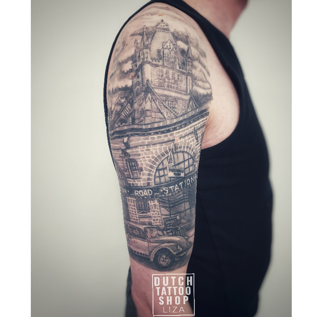londen-tower-bridge-station-keever-beatle-tattoo-details-sleeve