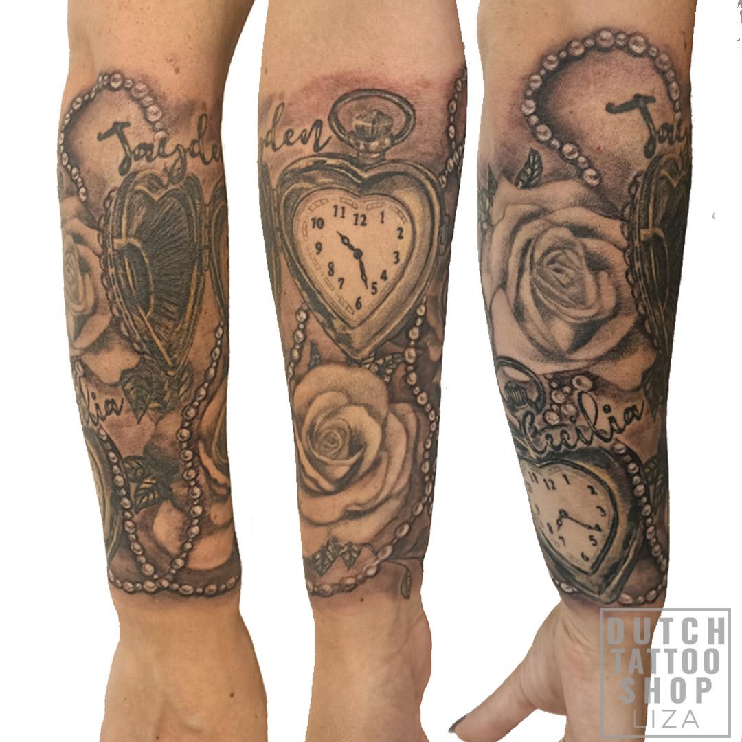 parels-pocket-watch-rozen-kindernamen-cover-vrouwen-arm-sleeve-tattoo