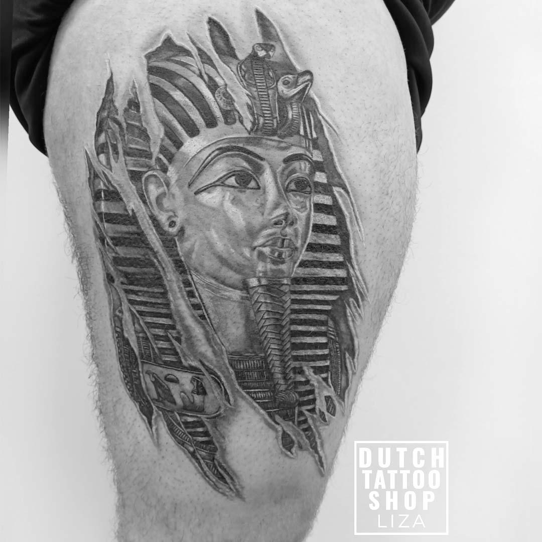 tattoo-toetanchamon-king-tut-egypte-musem-farao-legsleeve