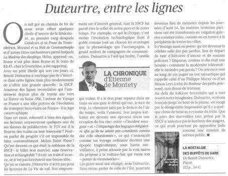 Benoît Duteurtre, La nostalgie des buffets de gare, Étienne de Montety, Le Figaro littéraire, 4 juin 2015