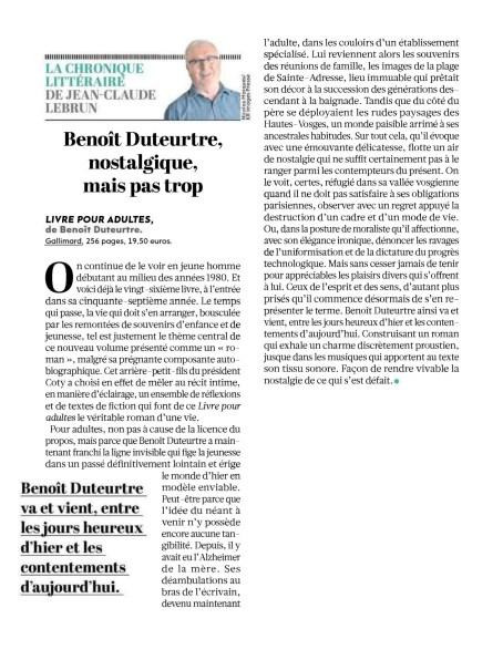 Benoît Duteurtre, Livre pour adulte, Jean-Claude Lebrun, L'humanité, 27 octobre 2016