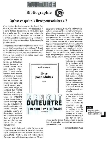 Benoît Duteurtre, Livre pour adultes, Christian Baillon-Passe , Petites affiches, 10 novembre 2016