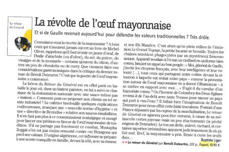 Benoît Duteurtre, Le retour du Général, Baptiste Liger, Lire, mars 2010