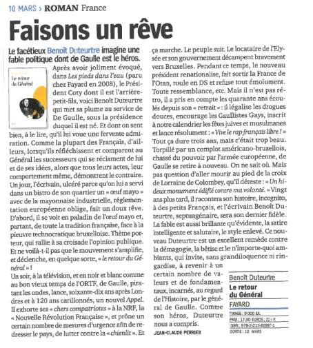 Benoît Duteurtre, Le retour du Général, Jean-Claude Perrier, Livre hebdo , 10 mars 2010