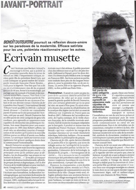 Benoît Duteurtre, Chemins de fer, Véronique Rossignol, Livres Hebdo, 23 juin 2006