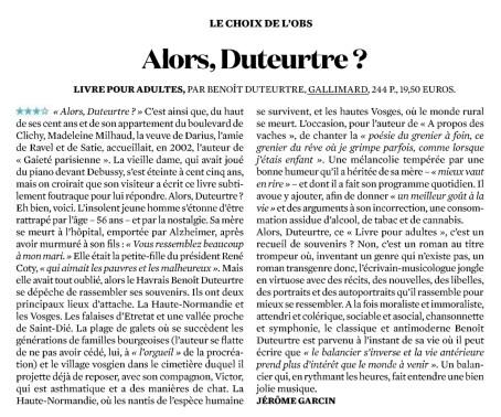 Benoît Duteurtre, Livre pour adulte, Jérôme Garcin, L'Obs, 29 septembre 2016