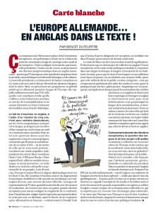 Marianne n°1176 - du 27 septembre au 03 octobre 2019 - Benoît Duteurtre - L'europe allemande en anglais dans le texte