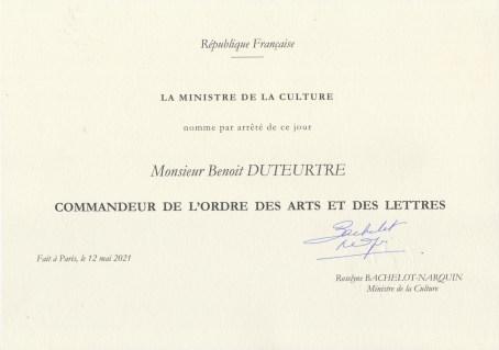 Benoît Duteurtre - Commandeur de l'ordre des arts et lettres - 12 mai 2021