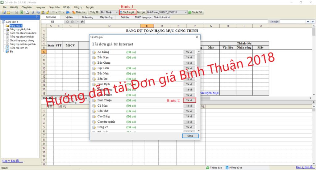 Đơn giá xây dựng công trình tỉnh Bình Thuận 2018
