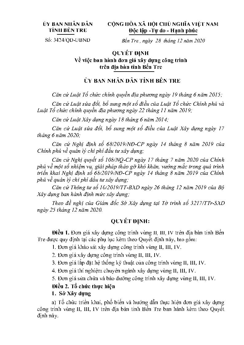Bộ đơn giá tỉnh Bến Tre năm 2020 theo quyết định số 3424/QĐ-UBND