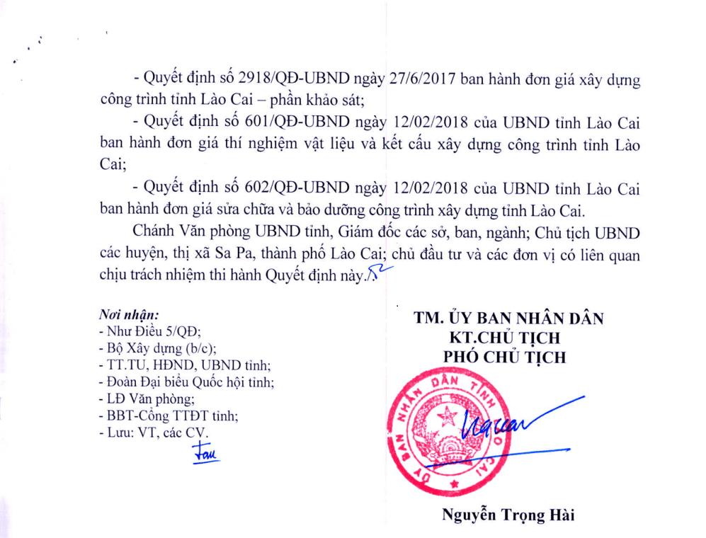 Bộ đơn giá tỉnh Lào Cai năm 2021