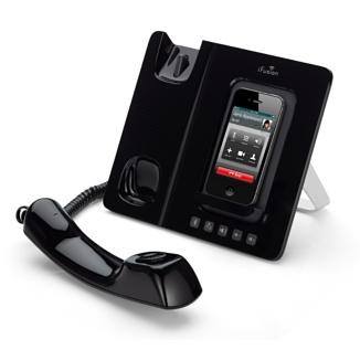 Base Dock con auricular ergonómico y altavoz manos libres Bluetooth.