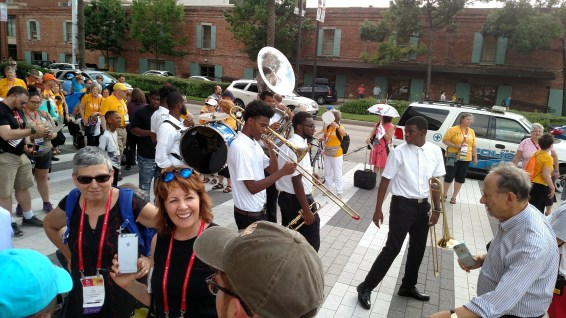 The Young and Talented Brass Band led the 'Second Line'