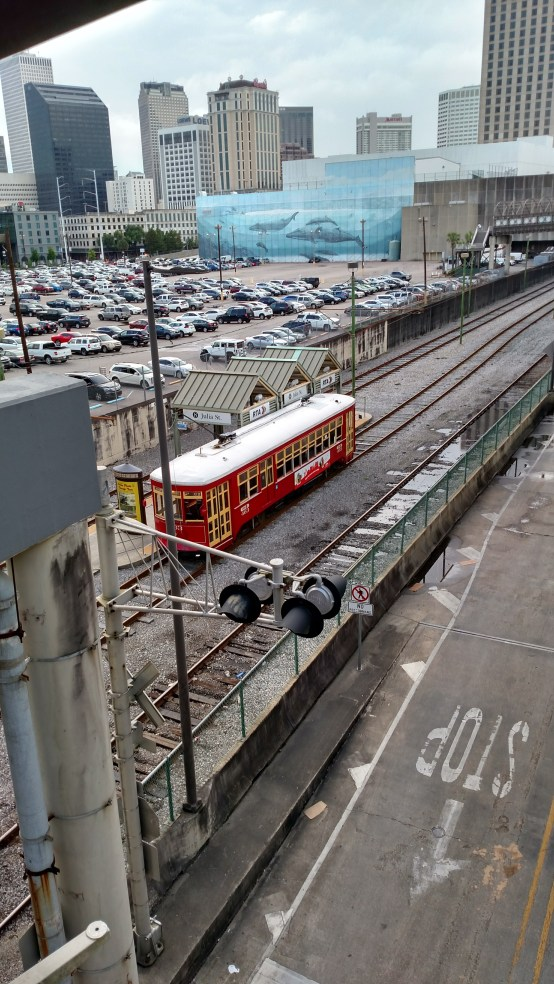 A streetcar near the river, New Orleans, LA