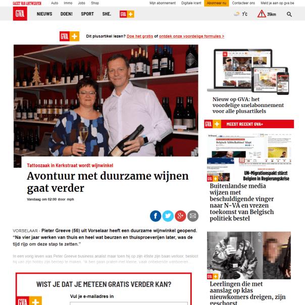 Duurzame Wijnen in de Gazet van Antwerpen