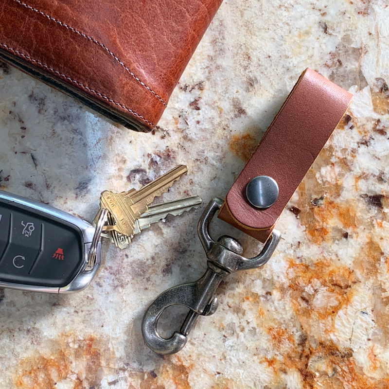 Leather key chain belt loop Light brown leather key fob