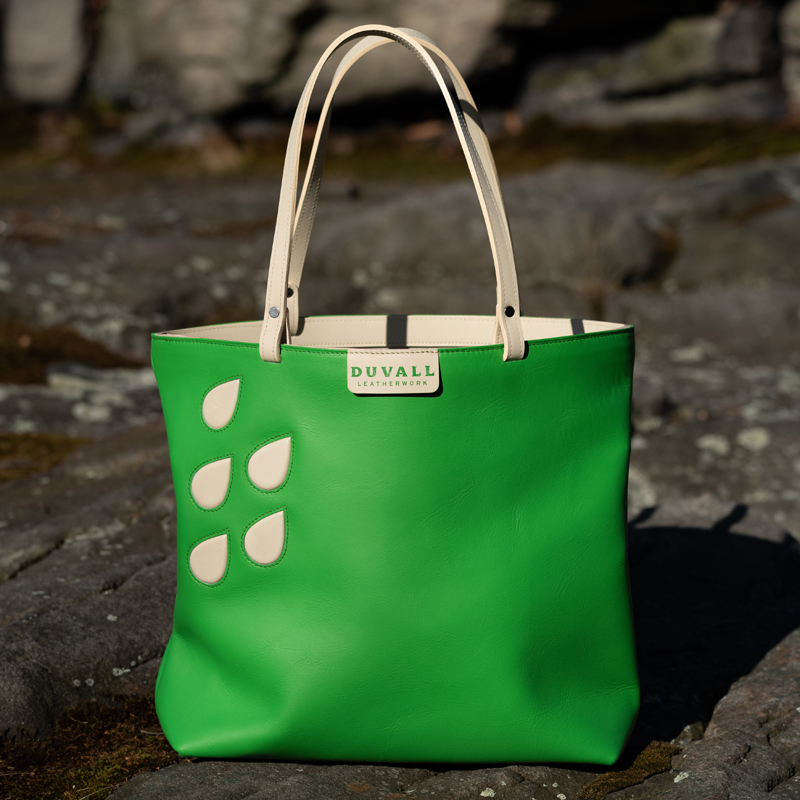 Emerald Green leather tote bag for work or play