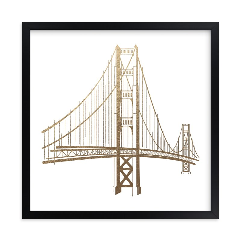 """Golden Gate Bridge"" - Foil-pressed Art Print by Jody Wody in beautiful frame options and a variety of sizes."