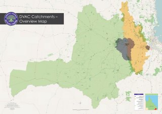A map of the DVAC catchments with Toowoomba area highlighted in green, Ipswich in yellow, and Goodna, Springfield and Lockyer in purple.