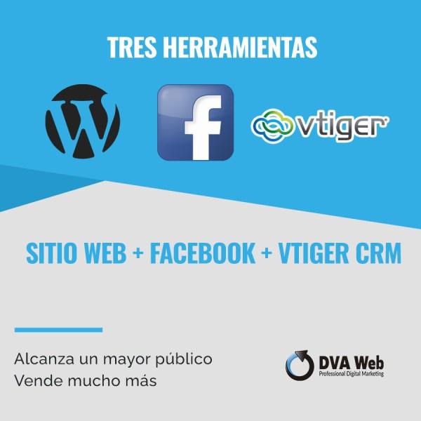 Sitio web + facebook + crm