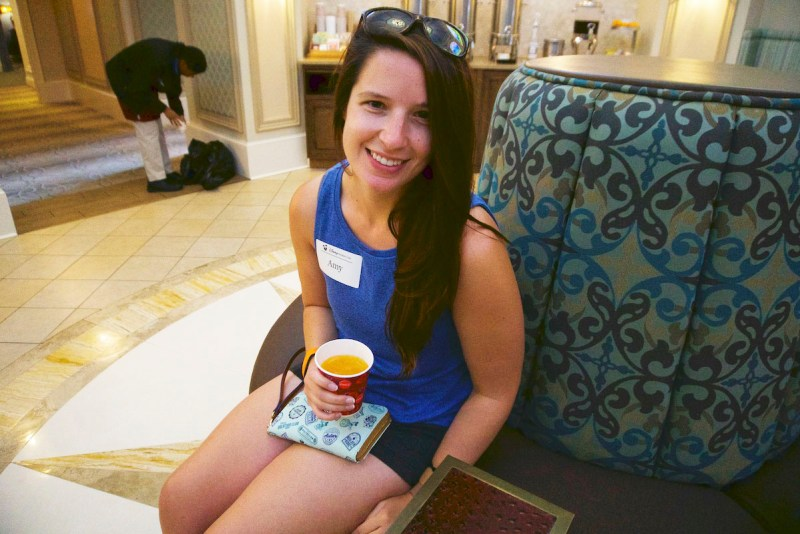 Amy enjoying the DVC Preview Center.