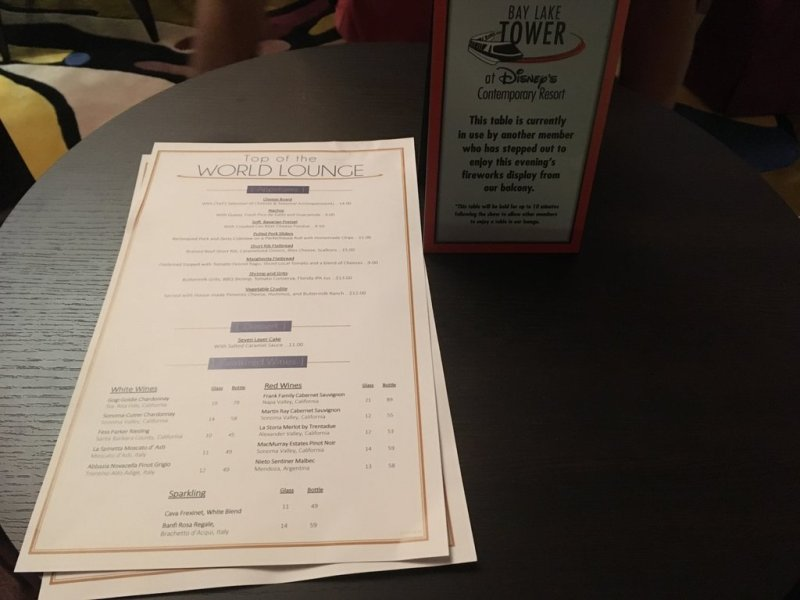 Top of the World Lounge menu