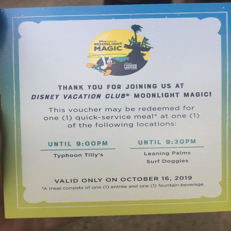 Typhoon Lagoon Moonlight Magic Meal Voucher