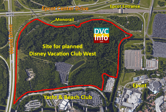 Planned location for Disney Vacation Club WEST