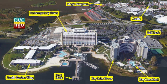 Disney's Bay Lake Tower Satellite View
