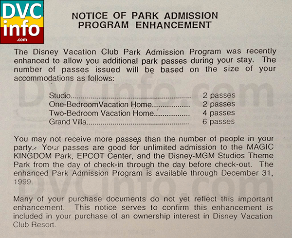 DVC Free Park Admission Program for purchasers