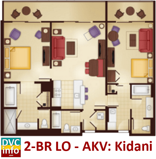 2-bedroom lock-off floor plan - AKV Kidani Village