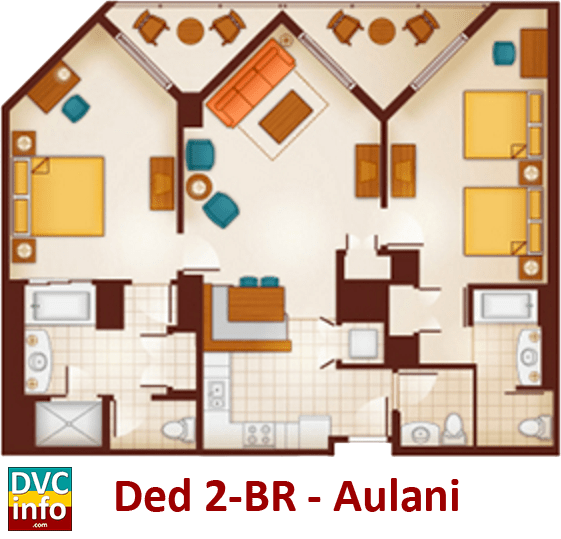Dedicated 2-bedroom floor plan - Aulani