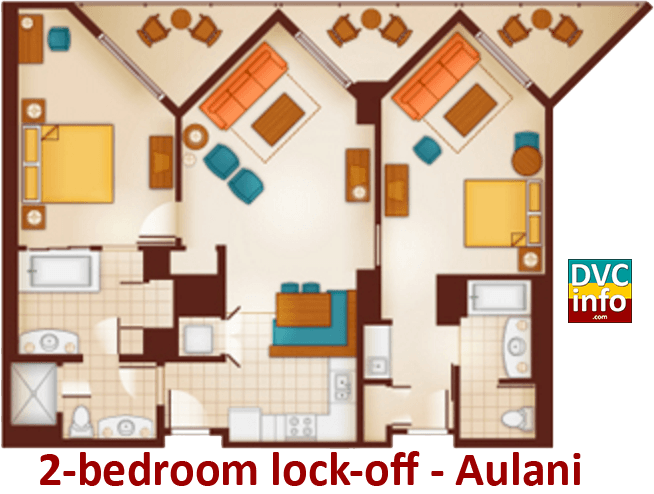 2-bedroom lock-off floor plan - Aulani