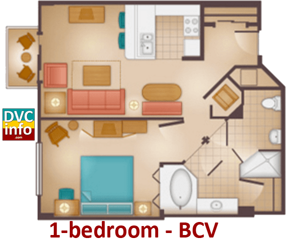 1-bedroom floor plan - Beach Club Villas