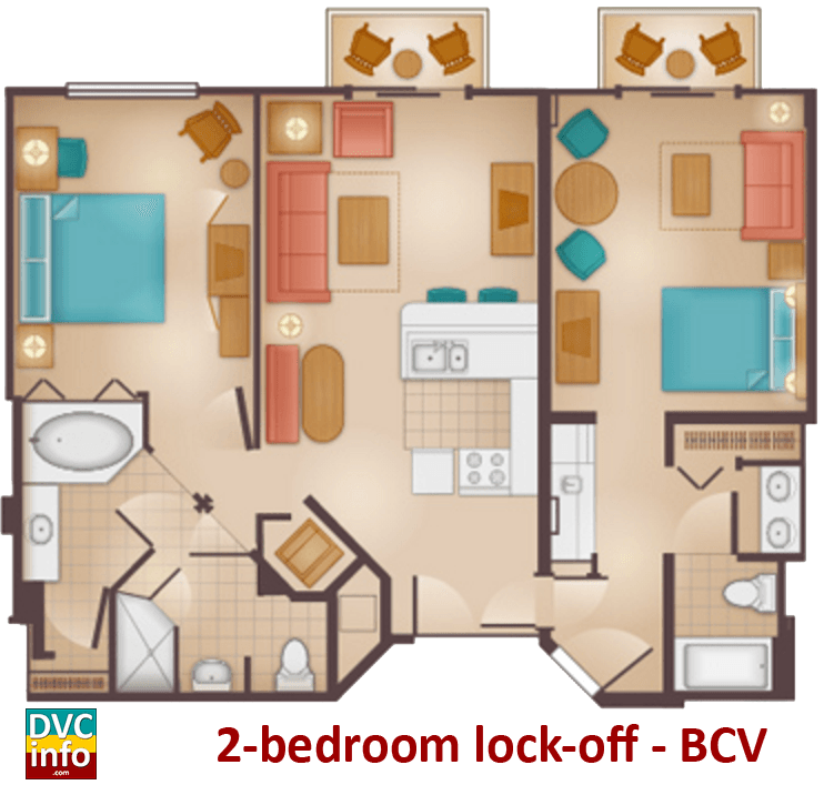 2-bedroom floor plan - Beach Club Villas