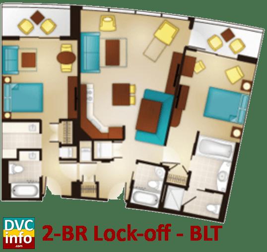 2-bedroom lock-off floor plan - Bay Lake Tower