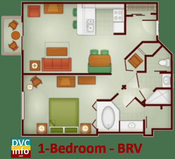 1-bedroom floor plan - Boulder Ridge Villas
