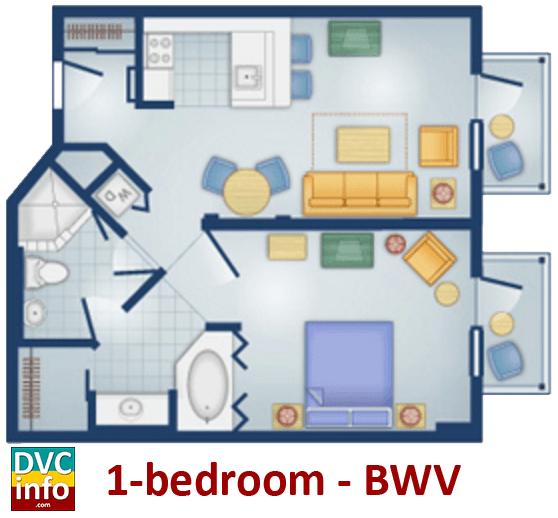 1-bedroom floor plan - BoardWalk Villas