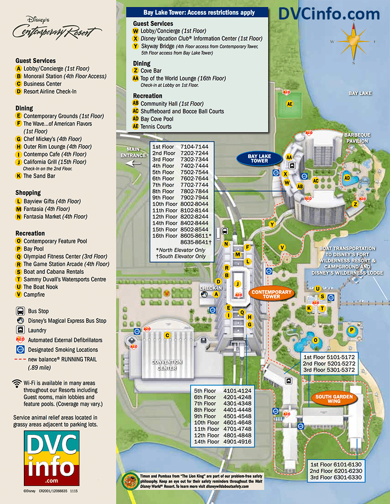 Disney's Bay Lake Tower Resort Map