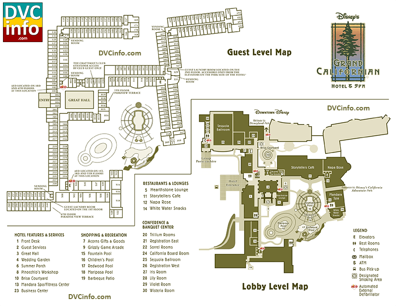 Disney's Grand Californian Hotel & Spa Resort Map