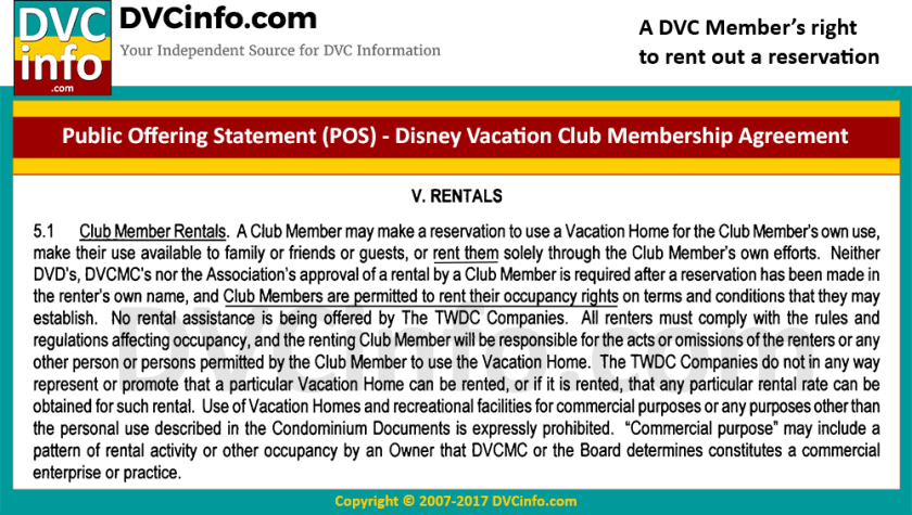 Right of DVC Members to make a reservation for a renter