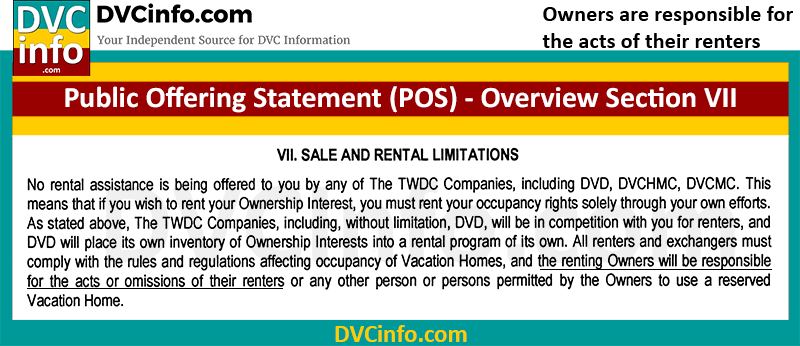 DVC Member is responsible for the acts of their renters