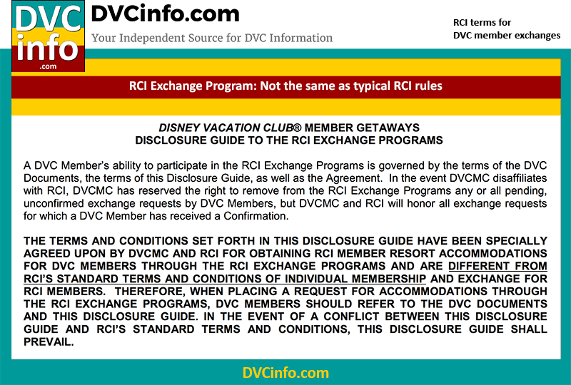 RCI Exchange terms for DVC are different than those for individual RCI membership